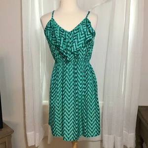 Teal green printed dress from Francesca's small